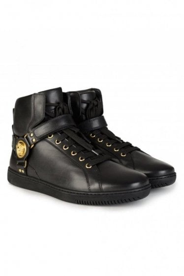 Belted Logo High Top Boots Black
