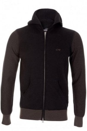 Armani Jeans Bicolour Hooded Zip Top