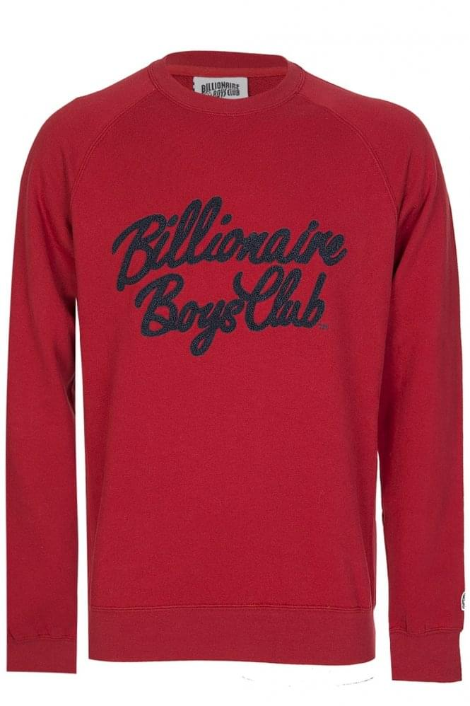 BILLIONAIRE BOYS CLUB Red Chenille Script Sweatshirt
