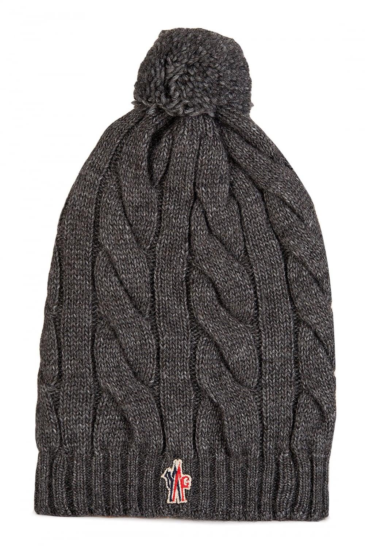 MONCLER Moncler Grenoble Cable Knit Bobble Beanie Hat Grey ... 05b950b88