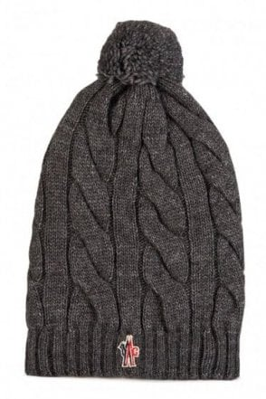 Moncler Grenoble Cable Knit Bobble Beanie Hat Grey