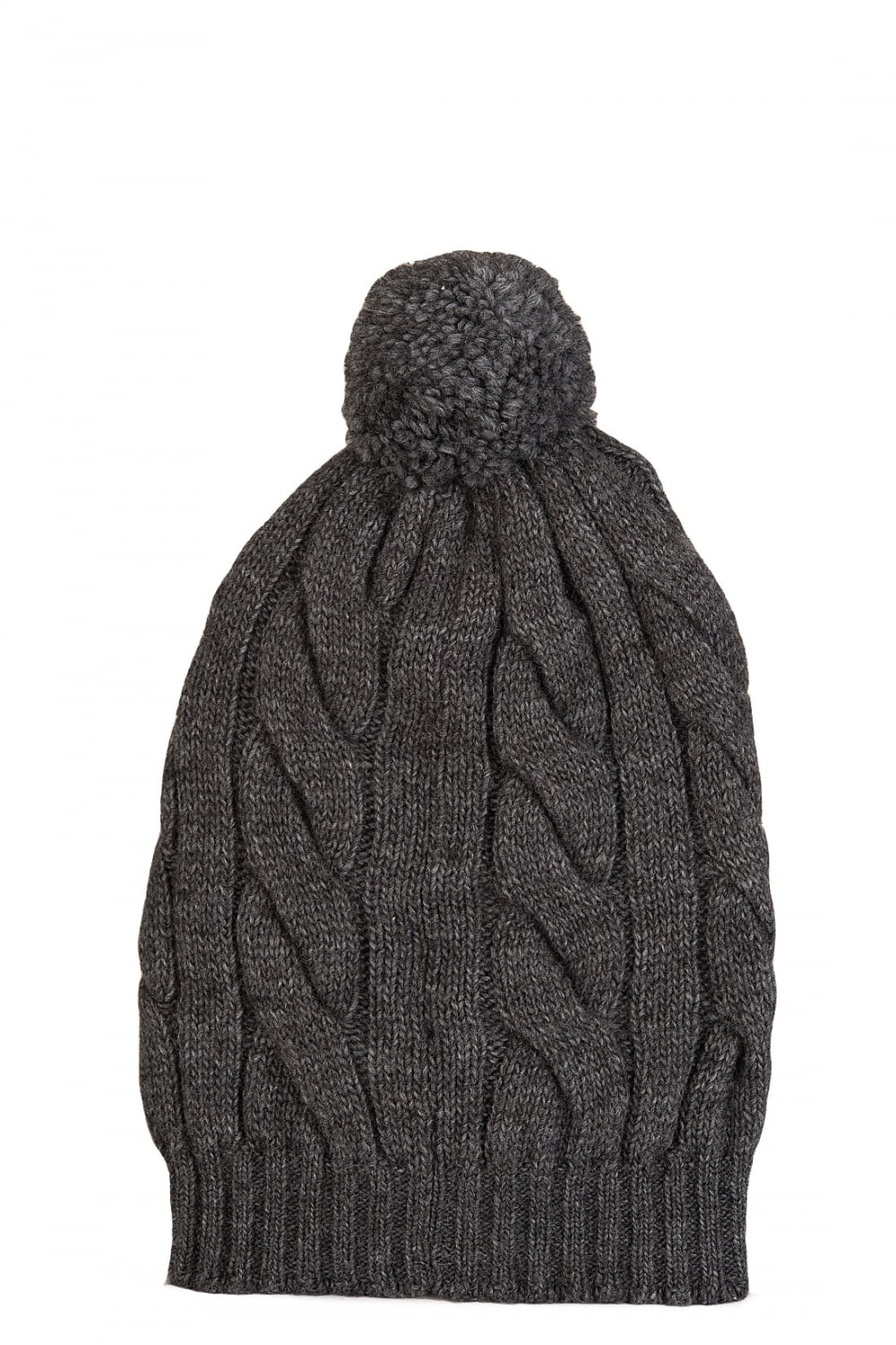 6114718f5 Grenoble Cable Knit Bobble Beanie Hat Grey