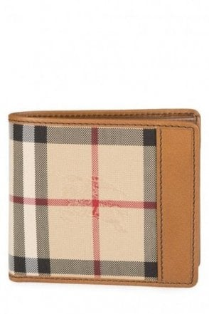 Burberry Billfold Check Wallet Tan