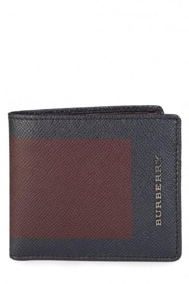 Burberry Billfold Leather Wallet Burgundy/Navy