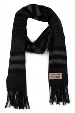 Burberry Check Cashmere Scarf Charcoal