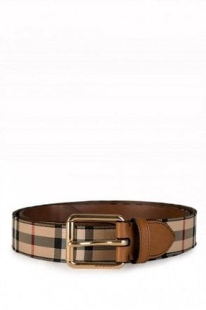 Burberry Checked Belt Tan