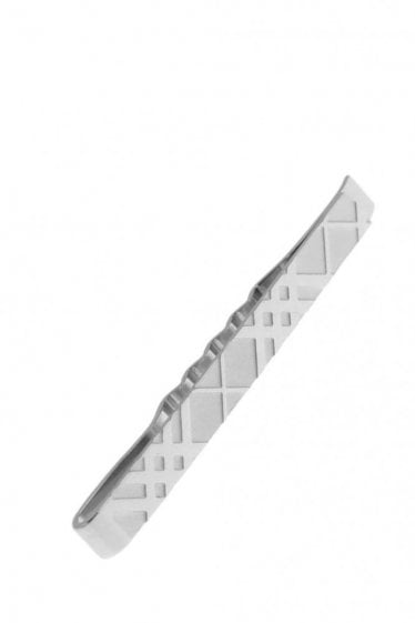 Burberry Checked Tie Bar Silver