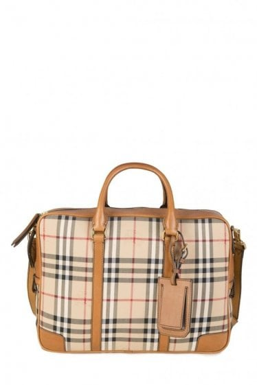 Burberry Newburg Check Briefcase Tan