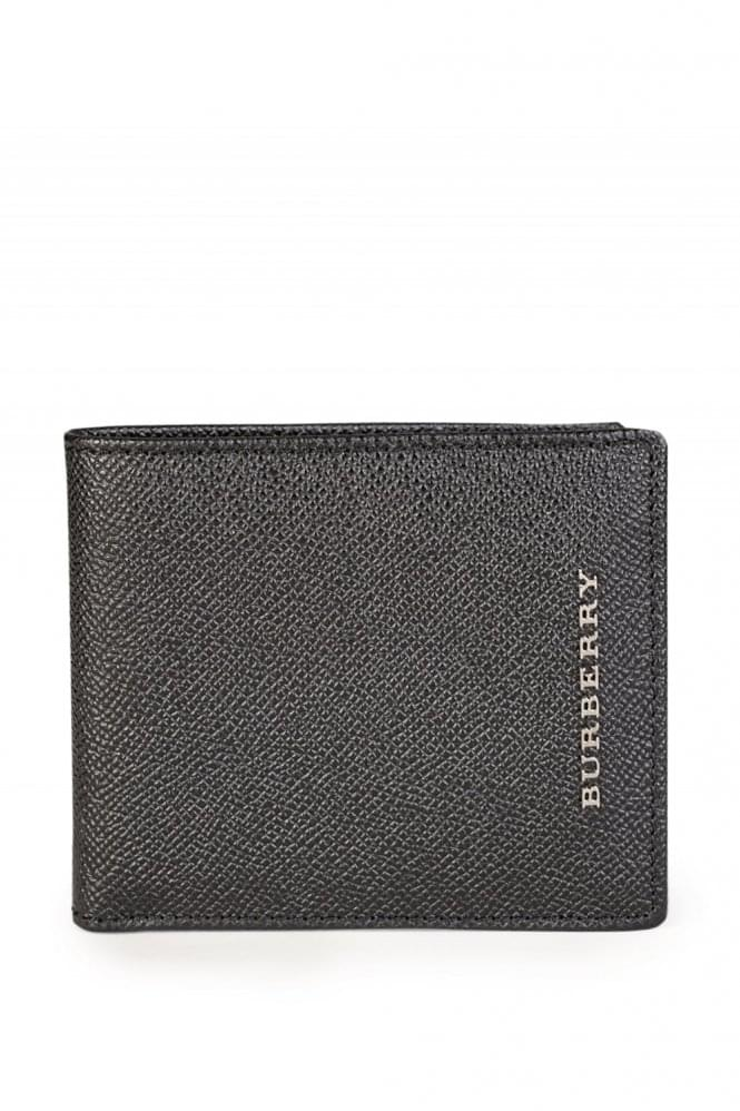 BURBERRY Pebbled Leather Wallet Black