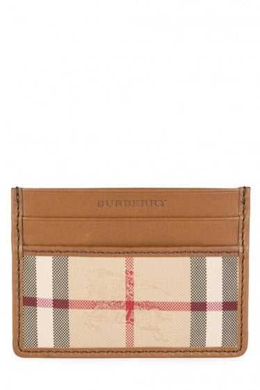 Burberry 'Sandon' Check Card Wallet Tan