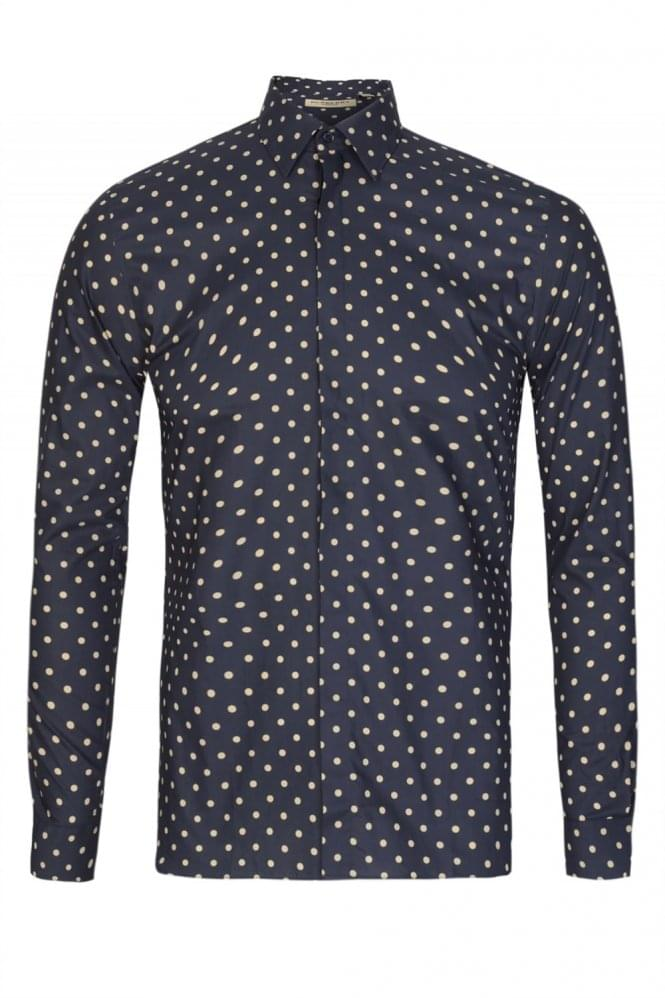 BURBERRY Slim Fit 'Seaford' Polka Dot Shirt Navy