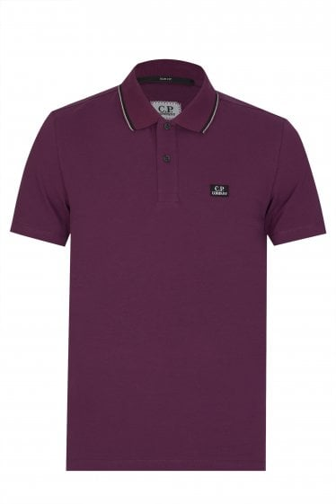 C.P Company Contrasting Trim Polo Shirt Purple