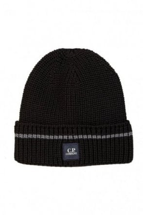 C.P Company Patch Logo Beanie Black