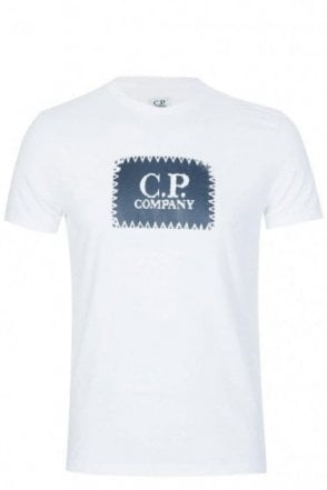 C.P Company Rubberized Logo Print Cotton T-Shirt White