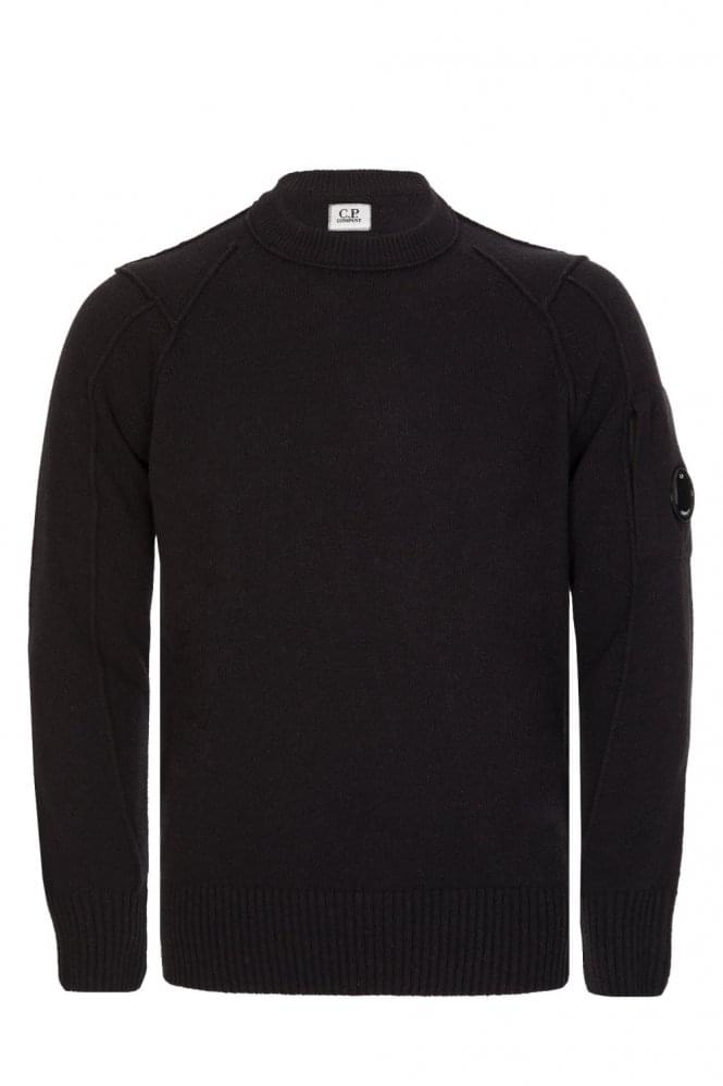 CP COMPANY C.P Company Wool Blend Crew Neck Knitted Jumper Black