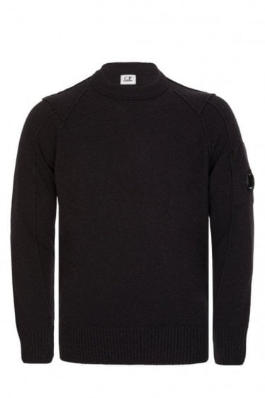 C.P Company Wool Blend Crew Neck Knitted Jumper Black