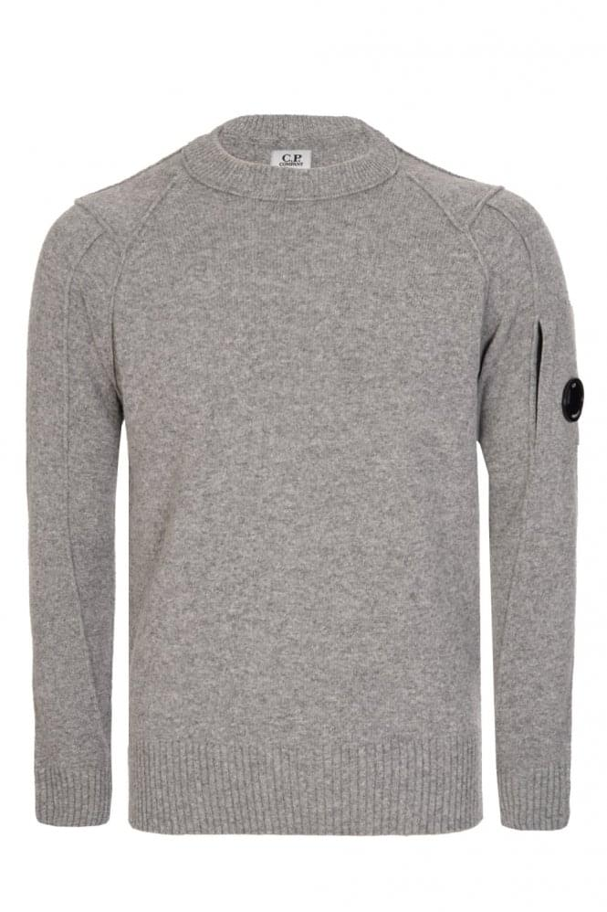 CP COMPANY C.P Company Wool Blend Crew Neck Knitted Jumper Grey