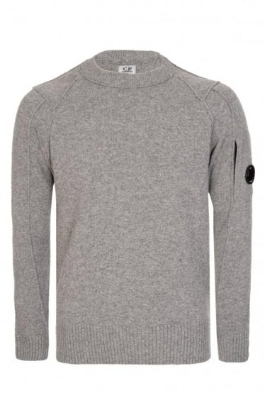C.P Company Wool Blend Crew Neck Knitted Jumper Grey