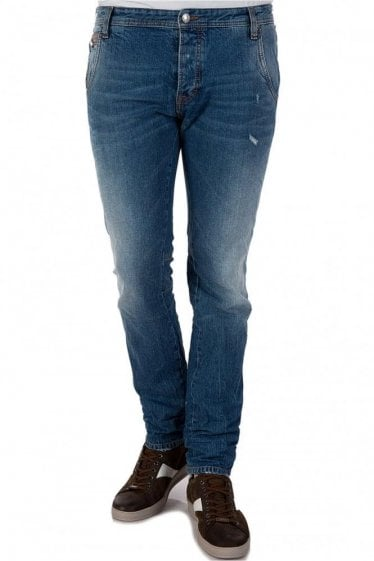 Cavalli Blue Faded Wash Jeans