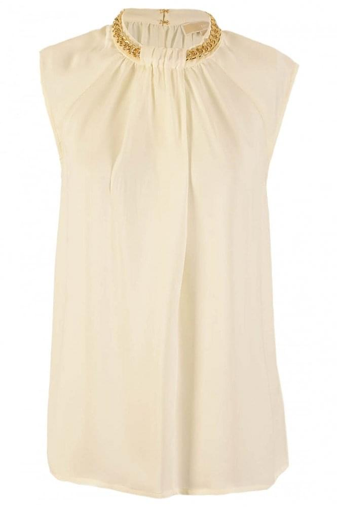 MICHAEL KORS Chain Neck Sleeveless Blouse