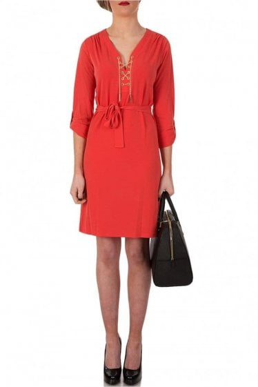 Michael Kors Chain Tie Neck Dress With Ruched Front