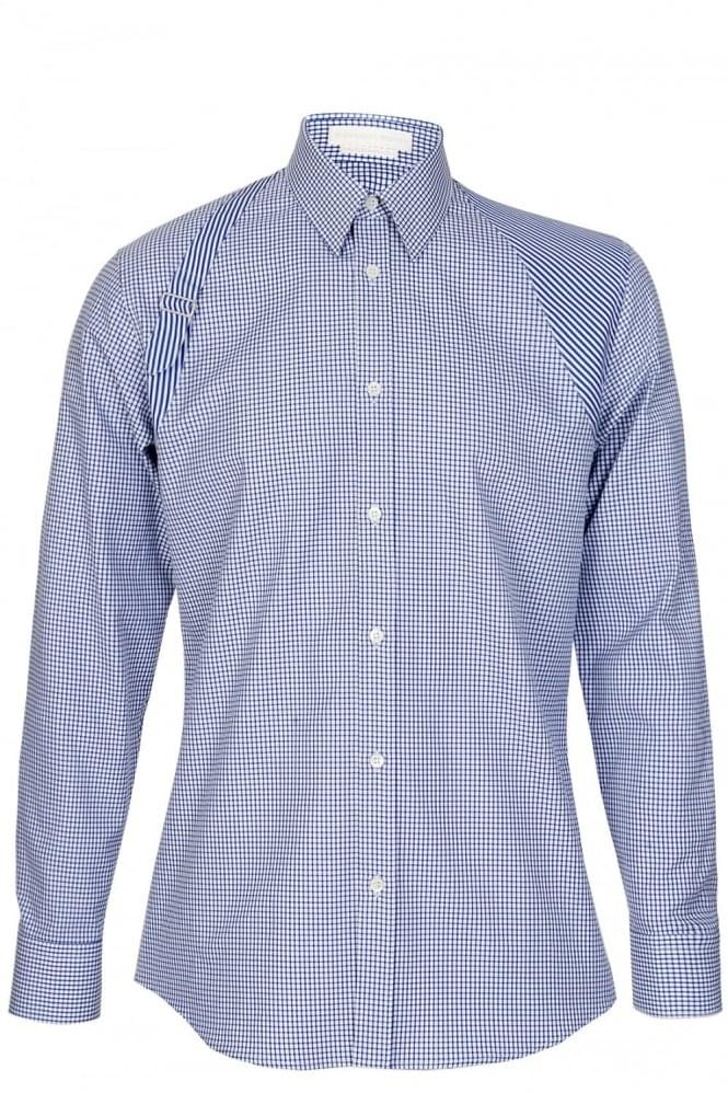 ALEXANDER MCQUEEN Check Harness Shirt Blue