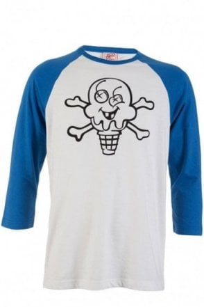Ice-Cream Cones & Bones Graphic Print 3/4 Sleeve T-Shirt