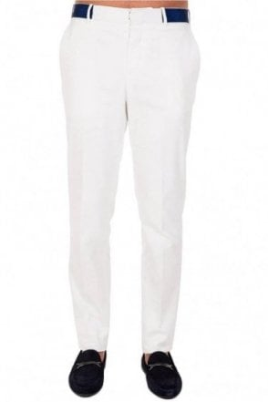 Alexander McQueen Contrast Waistband Trousers White