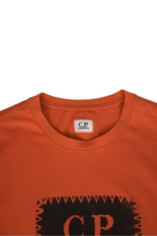 bcf98b1f C.P Company Rubberized Logo Print Cotton T-Shirt Orange