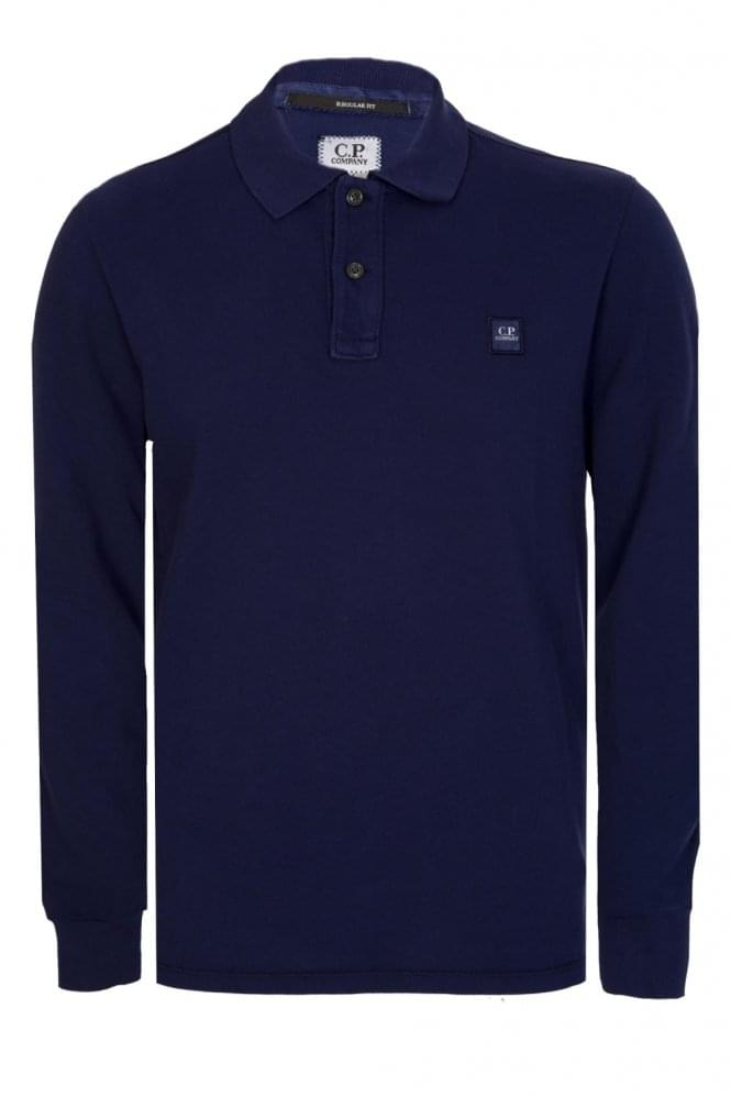 CP COMPANY Long Sleeved Polo Blue