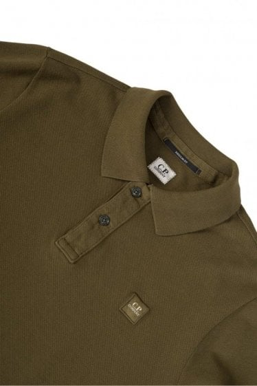 CP Company Pique Short Sleeved Polo Khaki