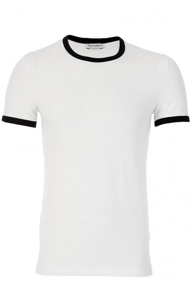 DOLCE & GABBANA D&G Dolce and Gabbana Contrast Trim T-Shirt White-5 (XL)