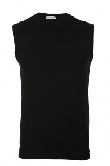 D&G Dolce and Gabbana Stretch Cotton Tank Black