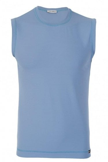 D&G Dolce and Gabbana Stretch Cotton Tank Blue