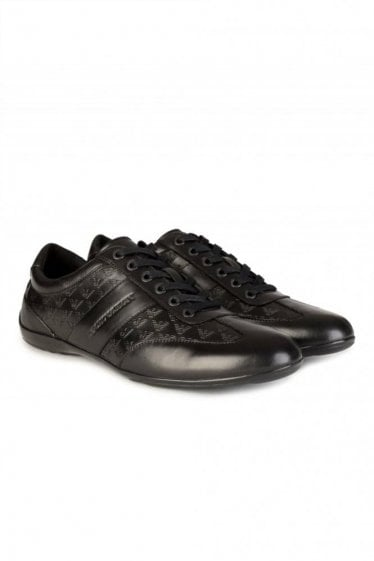Derby Logo Leather Shoes Black