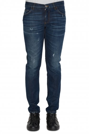 Distressed Martini 5 Pocket Jeans Blue