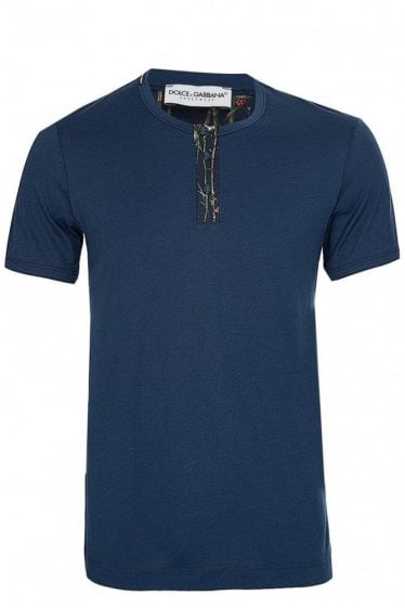 Dolce & Gabanna Button Up Tshirt Navy