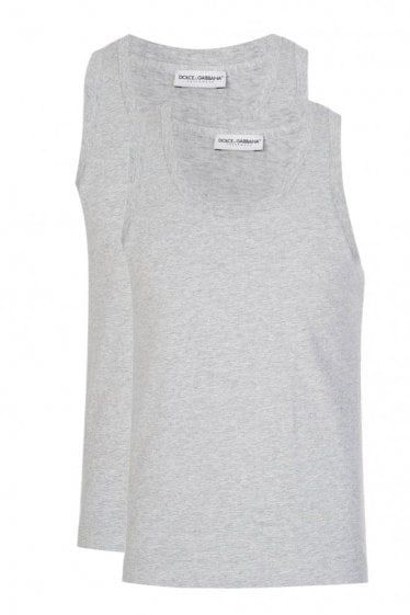 Dolce & Gabbana 2 Pack Back Logo Tank Top Grey