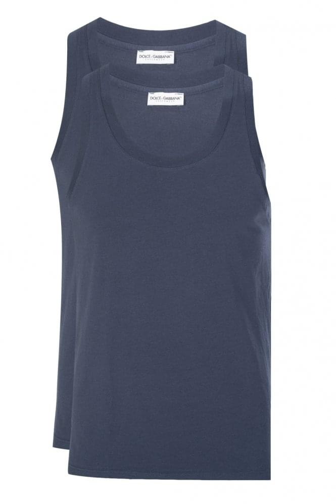 DOLCE & GABBANA 2 Pack Back Logo Tank Top Navy