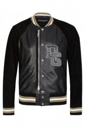 Dolce & Gabbana Applique Logo Leather Bomber