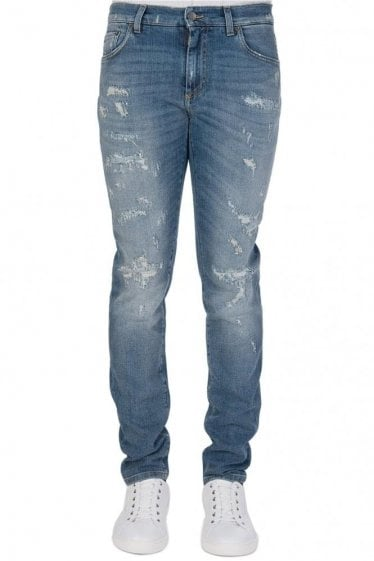 Dolce & Gabbana Back Pocket Logo Distressed Denim Jeans