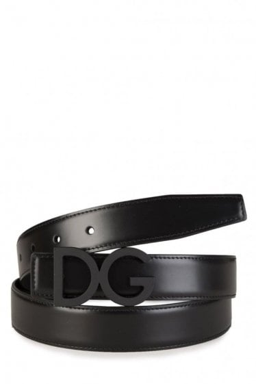 Dolce & Gabbana Black Logo Buckle Belt