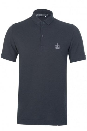 Dolce & Gabbana Chest Crown Logo Polo Black