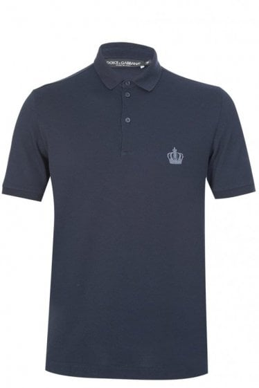 Dolce & Gabbana Chest Crown Logo Polo Navy