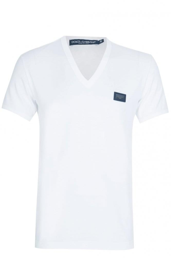 DOLCE & GABBANA Chest Plaque V Neck T-Shirt White
