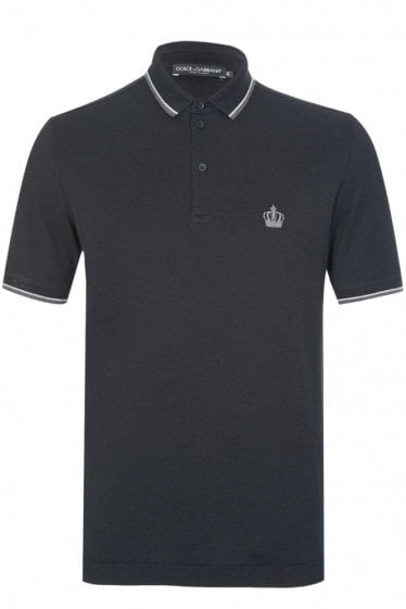 Dolce & Gabbana Contrast Trim + Crown Logo Polo Black