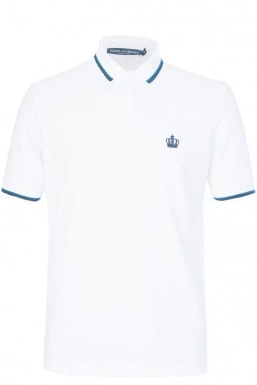 Dolce & Gabbana Contrast Trim + Crown Logo Polo White