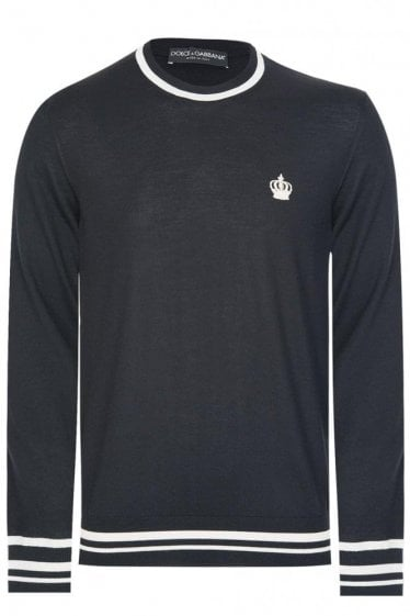 Dolce & Gabbana Contrast Trim Knitted Jumper Black