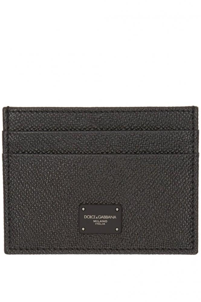 DOLCE & GABBANA Dauphine Leather Card Holder Black