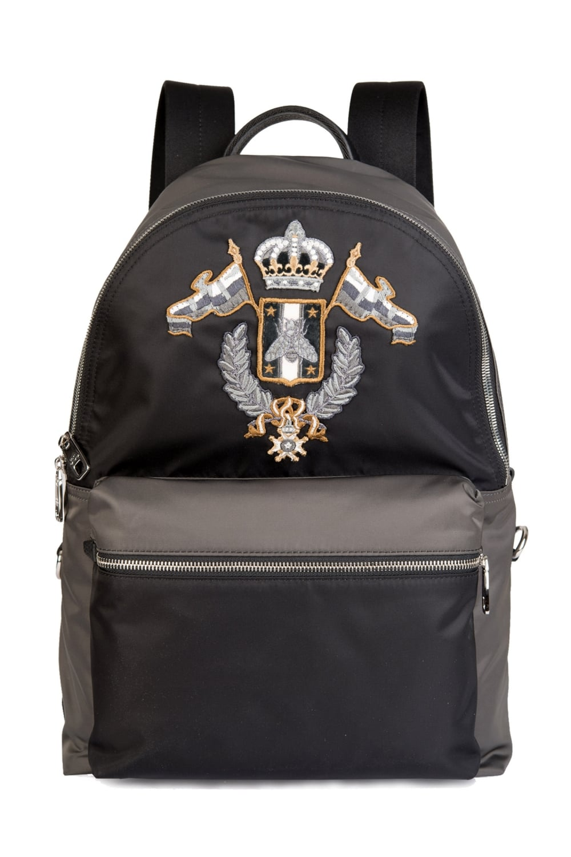 Dolce Amp Gabbana Embellished Backpack Black Grey